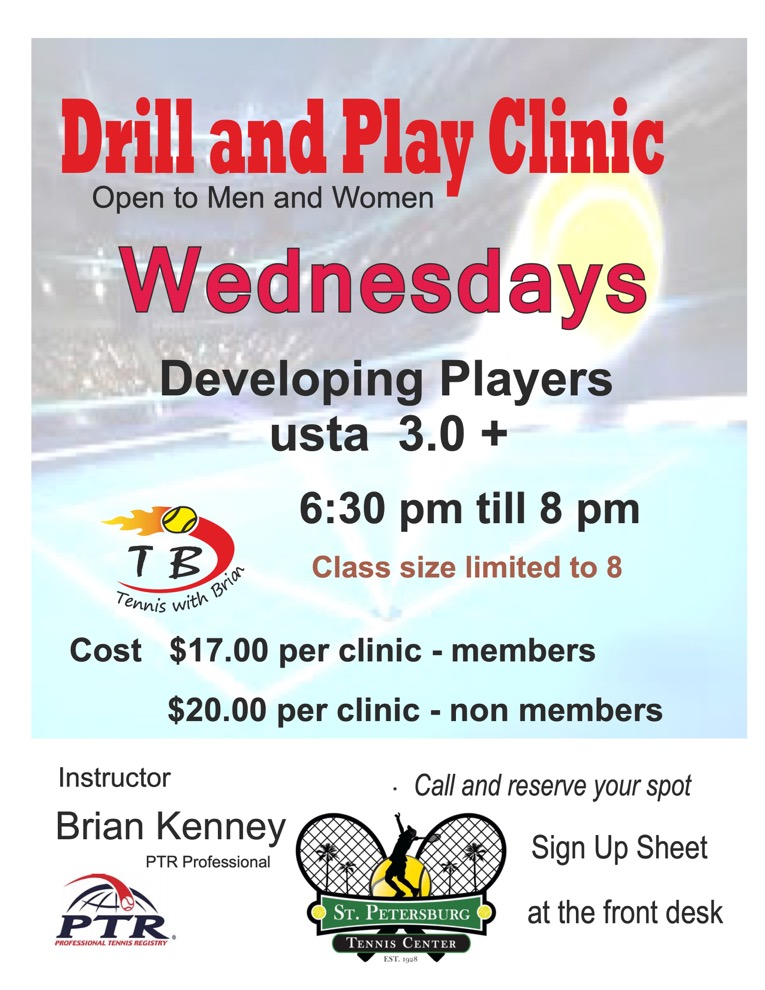 Information regarding the Wednesday Drill & Play clinic.