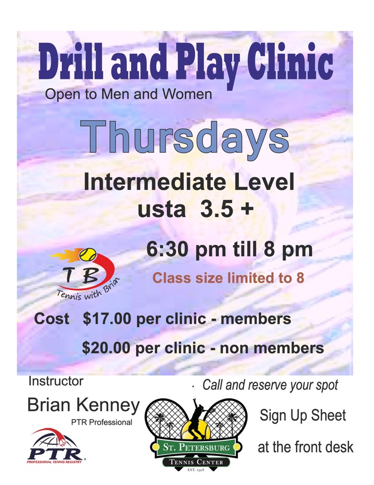 Information regarding the Thursday Drill and Play clinic.