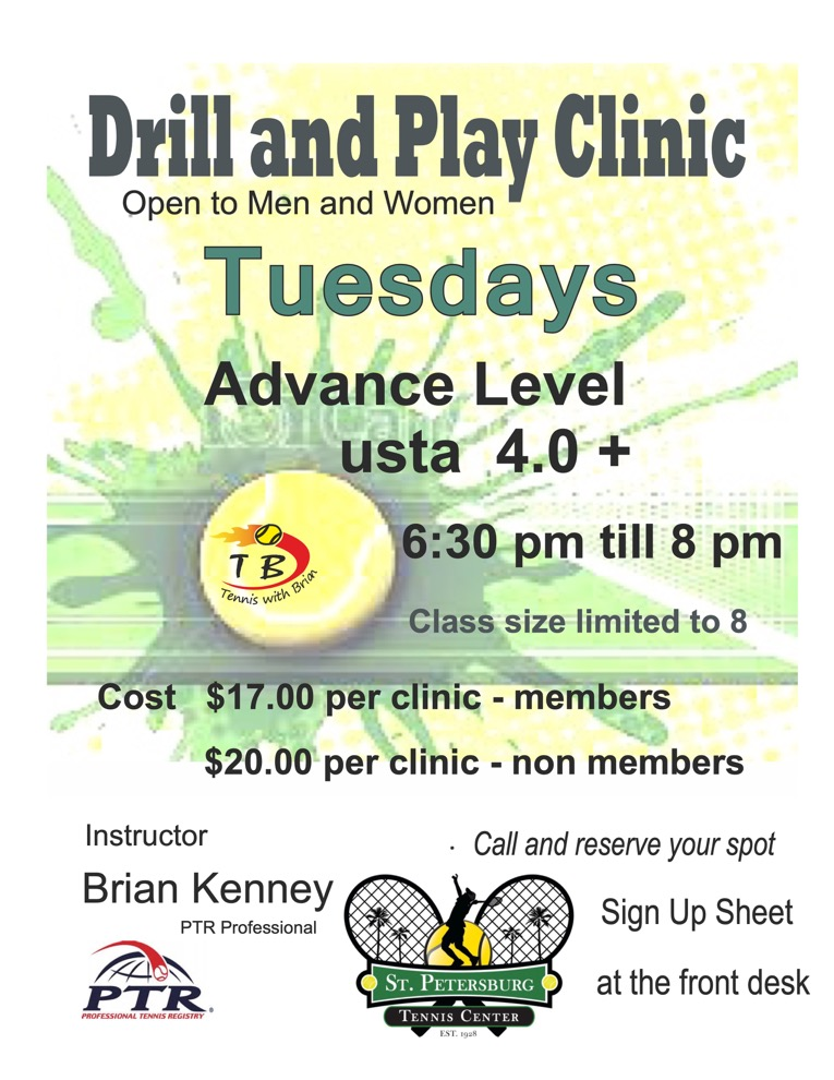 Information regarding the Tuesday Drill & Play